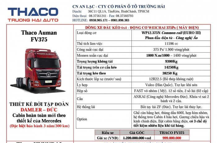 Giá Đầu kéo, tải nặng Hyundai, Auman, Thaco đời 2017, 2016, 2015. Giá ưu đãi 9