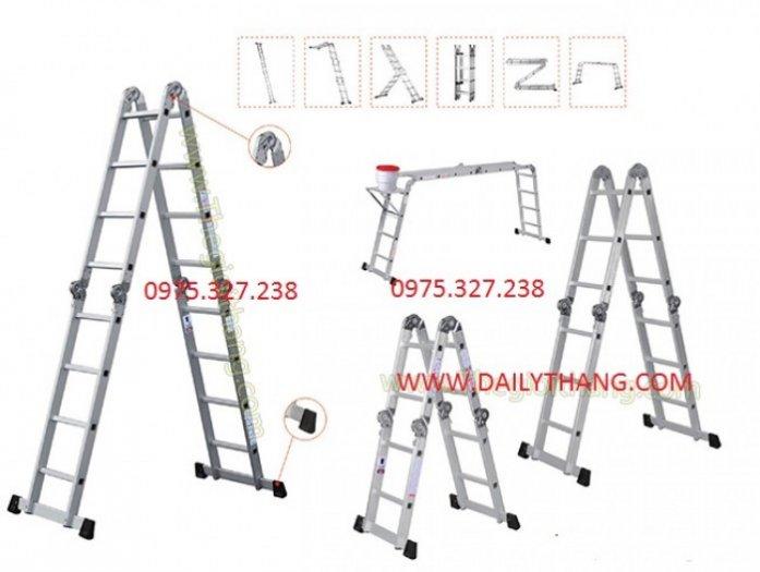 Thang nhôm ghế, thang nhôm PAL đài loan, thang nhôm 4 đoạn, thang nhôm gấp khúc, thang chữ A nhập khẩu3
