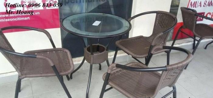 Bàn ghế nhựa giả mây cho cafe sân vườn, miễn phí vận chuyển