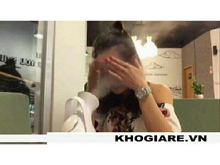 Máy xông mặt phun sương trị mụn trắng da mini ion âm Kingdom KD-2331 (Trắng phối hồng)