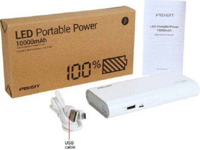 Pin sạc dự phòng pisen led portable 10.000mah chính hãng2