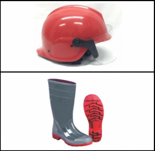 Mũ chống cháy o   Chống va đập, chống đâm, chịu lửa, chống hoá chất. Bảo vệ đầu và cổ của lính cứu hoả. Kính bảo vệ mắt khỏi nhiệt độ cao và chịu được va chạm mạnh o   Chịu được nhiệt độ lên đến 500-600 độ C o   Chịu được ngọn lửa trần trong thời gian 3-6s. o   Thân mũ làm bằng nhựa ABS tổng hợp o   Phía trên đỉnh mũ có lớp vỏ xương sống vuông chạy từ trước ra sau, hai bên thân mũ có cấu tạo lồi ra để bảo vệ tai. o   Phía trước mũ có kính bảo vệ bằng nhựa Polycarbonate (PC) không màu, bề dày 02 mm, giúp cản bụi, gió, hơi nóng khi chữa cháy. o   Quai đeo làm bằng sợi tổng hợp có sức chịu tải, giúp giữ cố định mũ vào đầu khi di chuyển; có thiết bị tăng giảm cỡ đầu để tăng giảm chu vi vòng đầu khi sử dụng. o   Màu: Đỏ/hoặc vàng o   Màu: Đỏ, tấm trùm màu cam. o   Vàng, tấm trùm màu bạc  Ủng chống cháy o   Được làm từ cao su Polythene chịu nhiệt có khả năng chống cháy, chịu nhiệt độ cao, chống trơn ngã, chống hóa chất. o   Đế trong làm bằng thép. tăng cường khả năng chống cháy ở nhiệt độ cực cao, chống đâm thủng. Đế đúc trực tiếp tăng độ bền, chống trơn trượt. o   Chịu được nhiệt độ lên tới 700độC. Chịu được ngọn lửa trần: 2-7s o   Chống lực va đập lên ngón chân. o   Ủng cao cổ, thân ủng đứng và đúc liền đế, chống thấm nước; mũi ủng tròn, bên trong thân ủng có lớp vải chuyên dùng chống trượt, bám dính vào thành ủng; cổ ủng, mũi ủng, các gờ sau của ủng có gân và chỉ viền xung quanh; đế ủng đúc, dày 05 cm, có vân nổi hình răng cưa tăng độ ma sát. o   Ủng được làm bằng cao su chống cháy.
