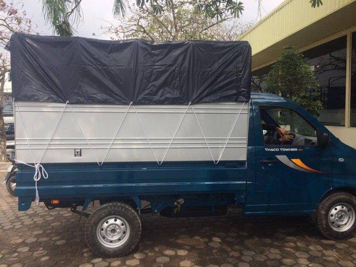 Xe tải THACO Towner990 mui bạt đời 2017, xe tải chở trái cây, xe tải chở khoai mì, xe tải chở nông sản, xe tải chở gia súc, xe tải chở gia cầm