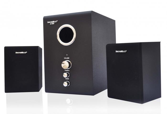 Loa SoundMax A850 2.1 thiết kế trang nhã, bao gồm 1 loa siêu trầm và 2 loa vệ tinh nhỏ gọn. Thùng loa có phủ lớp sơn màu đen giúp loa sang trọng và mạnh mẽ hơn. Loa thích hợp để trong phòng khách hay bàn làm việc. Các nút điều chỉnh âm lượng phía trước loa siêu trầm giúp bạn dễ dàng điều chỉnh âm lượng theo ý muốn.0