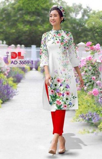 Vải áo dài bộ cách tân rừng hoa Vải áo dài Kim Ngọc1