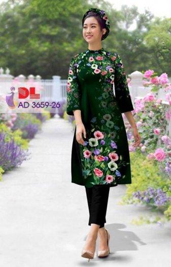 Vải áo dài bộ cách tân rừng hoa Vải áo dài Kim Ngọc2