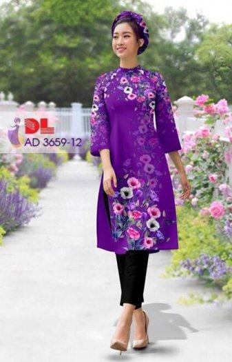 Vải áo dài bộ cách tân rừng hoa Vải áo dài Kim Ngọc3