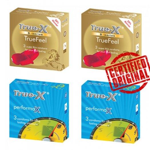 Combo 4 hộp 2 loại Bao cao su True-X Nhật Bản - S Series