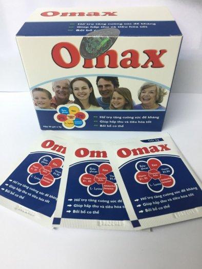 Omax giúp tăng hấp thu các chất dinh dưỡng, hỗ trợ miễn dịch, nâng cao sức đề kháng, tăng khả năng phòng chống bệnh tật.0