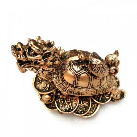 Tượng Đá Long Quy Phong Thủy (Màu Nhũ Vàng)  + Kích thước: Dài 12cm x Rộng 8cm x Cao 10cm . Giá 195.000₫1