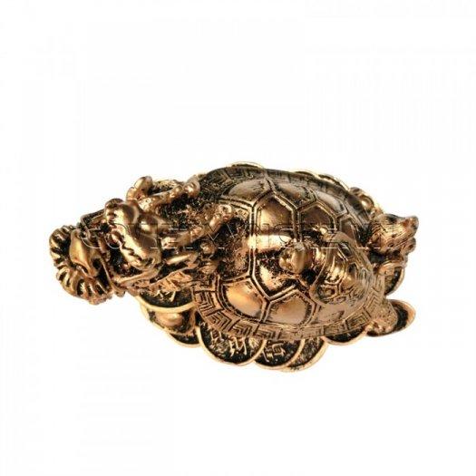 Tượng Đá Long Quy Phong Thủy (Màu Nhũ Vàng)  + Kích thước: Dài 12cm x Rộng 8cm x Cao 10cm . Giá 195.000₫3