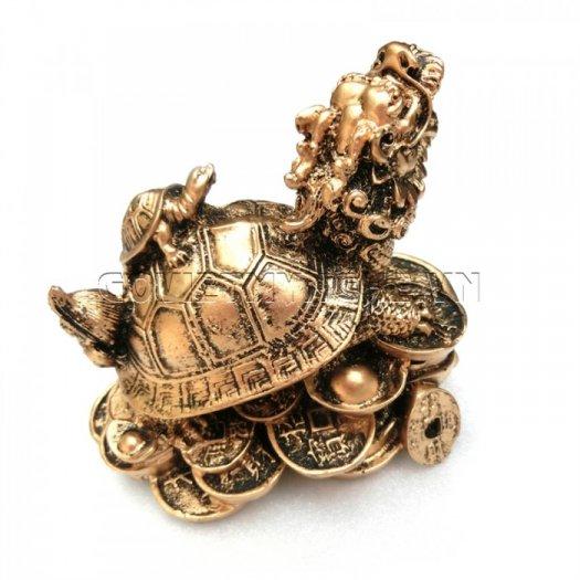 Tượng Đá Long Quy Phong Thủy (Màu Nhũ Vàng)  + Kích thước: Dài 12cm x Rộng 8cm x Cao 10cm . Giá 195.000₫4