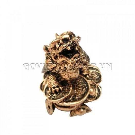 Tượng Đá Long Quy Phong Thủy (Màu Nhũ Vàng)  + Kích thước: Dài 12cm x Rộng 8cm x Cao 10cm . Giá 195.000₫5