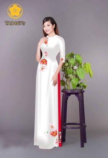 Vải áo dài in hoa đơn giản dễ thương0