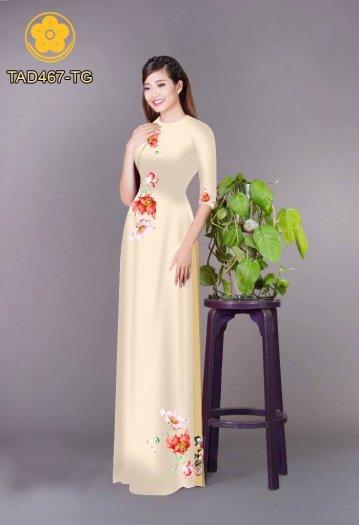 Vải áo dài in hoa đơn giản dễ thương1