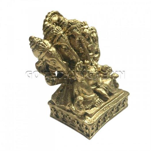 Tượng Đá Thần Voi Ganesha 5 Đầu (Màu Nhũ Đồng), Dài 9 x Rộng 7 x Cao 10 (cm), Giá - 150.000₫1