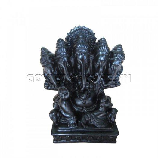Tượng Đá Thần Voi Ganesha 5 Đầu (Màu Đen), Dài 9 x Rộng 7 x Cao 10 (cm), Giá - 150.000₫3