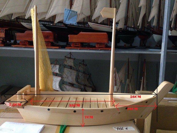 Kích thước chi tiết của khay Thuyền Gỗ Sushi - Sashimi Nhật Bản 60cm(có cột buồm)