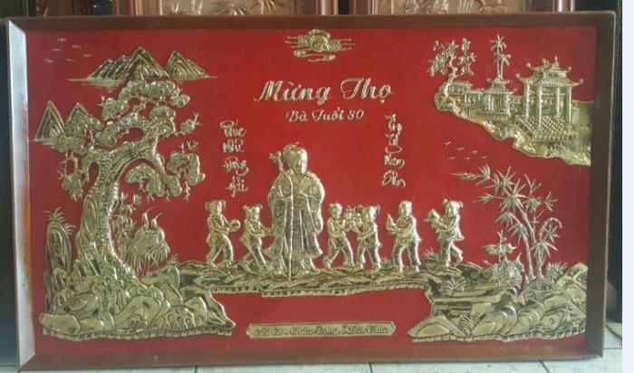 tranh mừng thọ mạ vàng 24k kích thước  70x 1m10