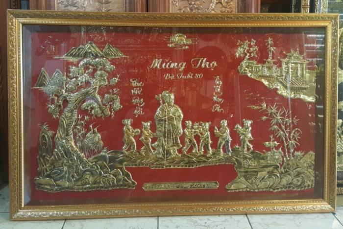 tranh mừng thọ mạ vàng 24k kích thước  70x 1m11