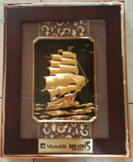 Tranh đồng thuận buồm dát vàng 34k 25x 35cm0