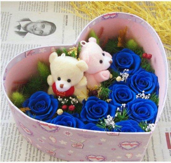 hoa hồng bất tử - hộp tim 9 hoa hồng xanh kèm gấu cặp4