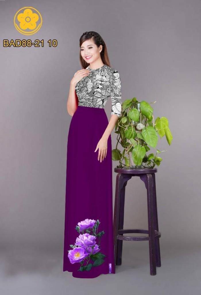 Vải áo dài cách điệu phần ngực lá cùng hoa bông tà0