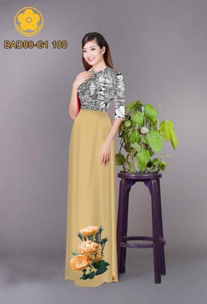 Vải áo dài cách điệu phần ngực lá cùng hoa bông tà1