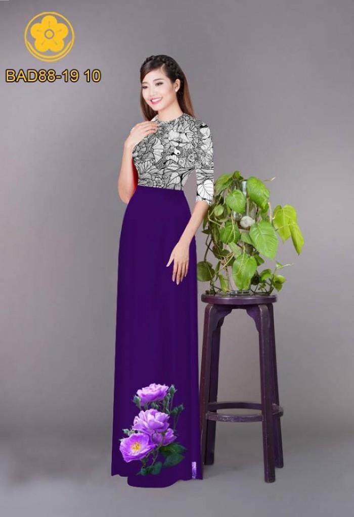 Vải áo dài cách điệu phần ngực lá cùng hoa bông tà3
