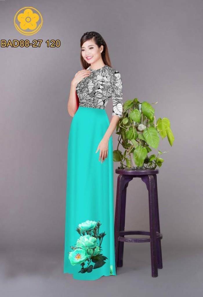Vải áo dài cách điệu phần ngực lá cùng hoa bông tà2