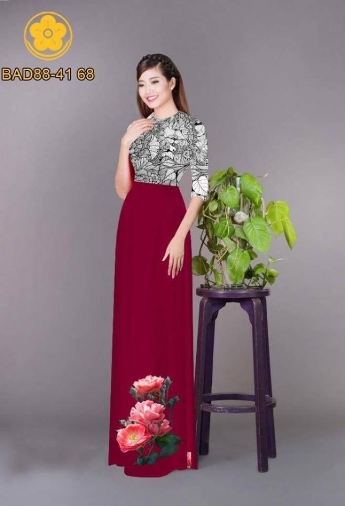 Vải áo dài cách điệu phần ngực lá cùng hoa bông tà4
