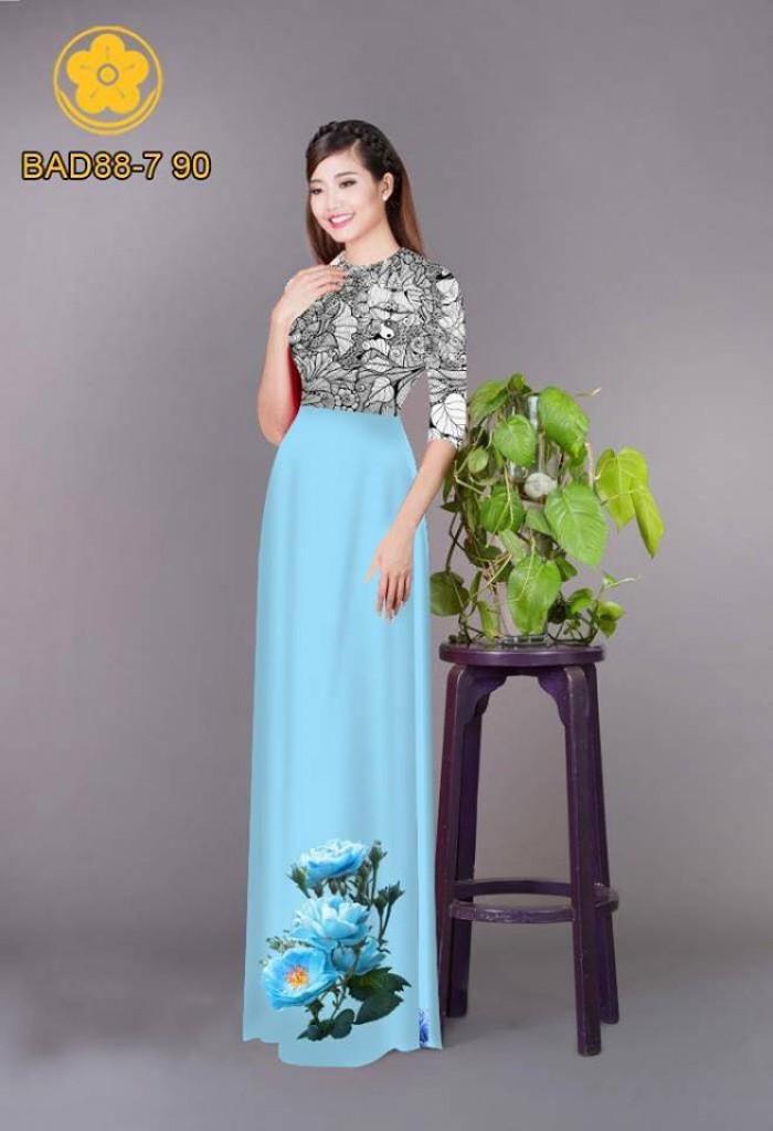 Vải áo dài cách điệu phần ngực lá cùng hoa bông tà5