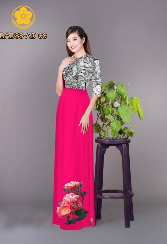 Vải áo dài cách điệu phần ngực lá cùng hoa bông tà6