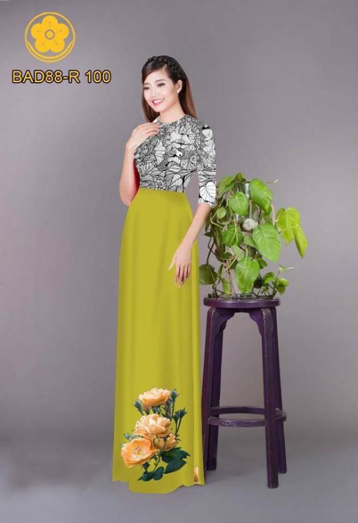 Vải áo dài cách điệu phần ngực lá cùng hoa bông tà7