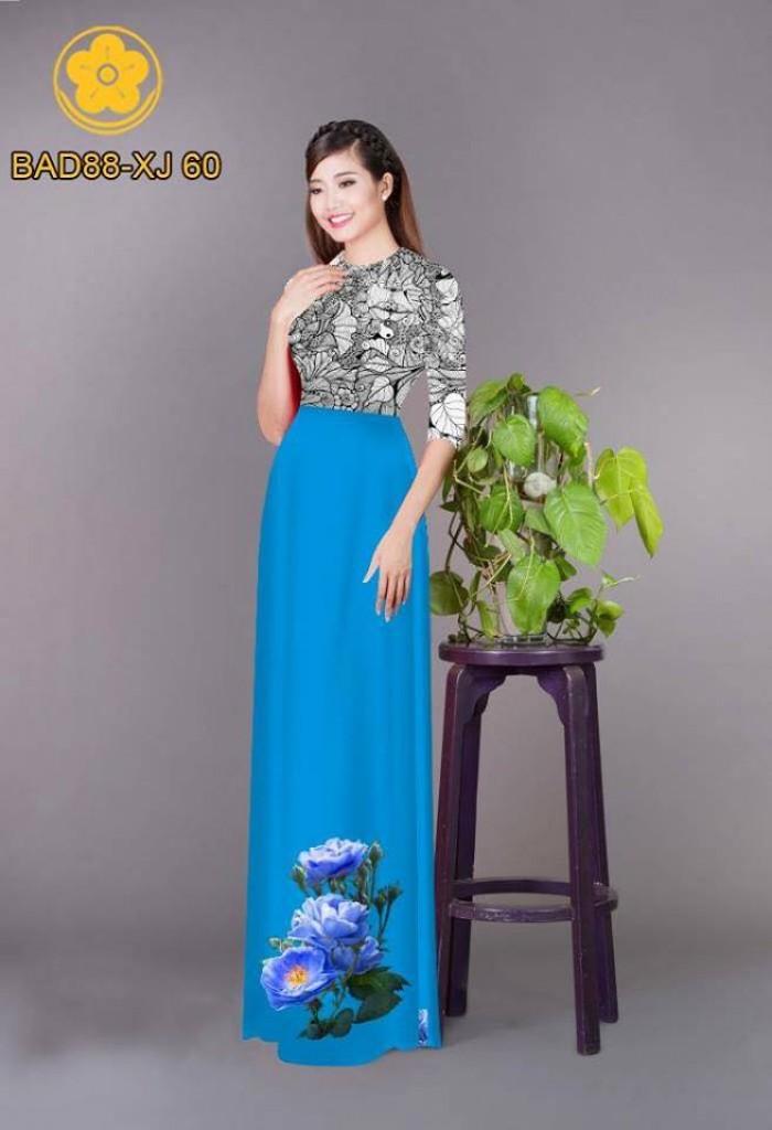 Vải áo dài cách điệu phần ngực lá cùng hoa bông tà8