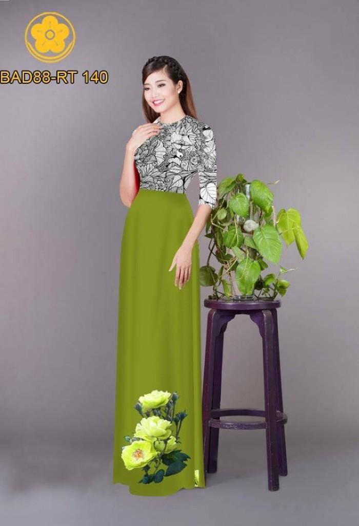 Vải áo dài cách điệu phần ngực lá cùng hoa bông tà9