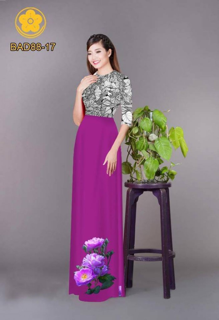 Vải áo dài cách điệu phần ngực lá cùng hoa bông tà10