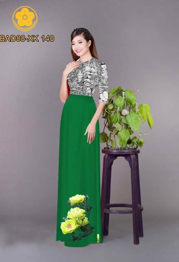 Vải áo dài cách điệu phần ngực lá cùng hoa bông tà11