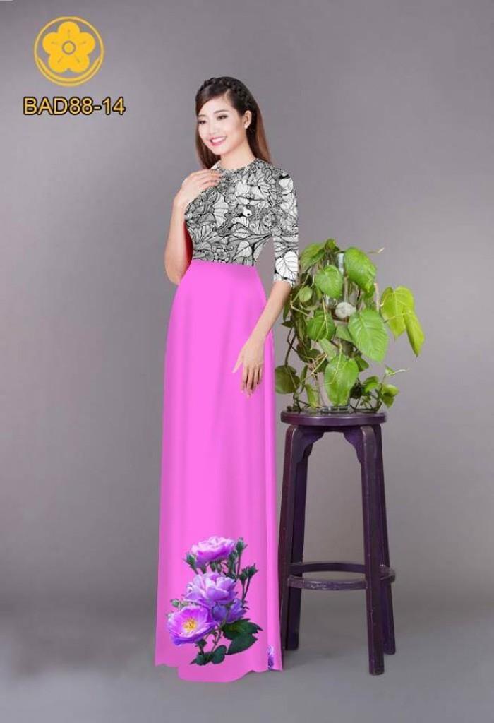 Vải áo dài cách điệu phần ngực lá cùng hoa bông tà12