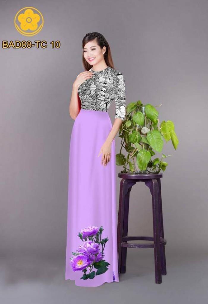 Vải áo dài cách điệu phần ngực lá cùng hoa bông tà13