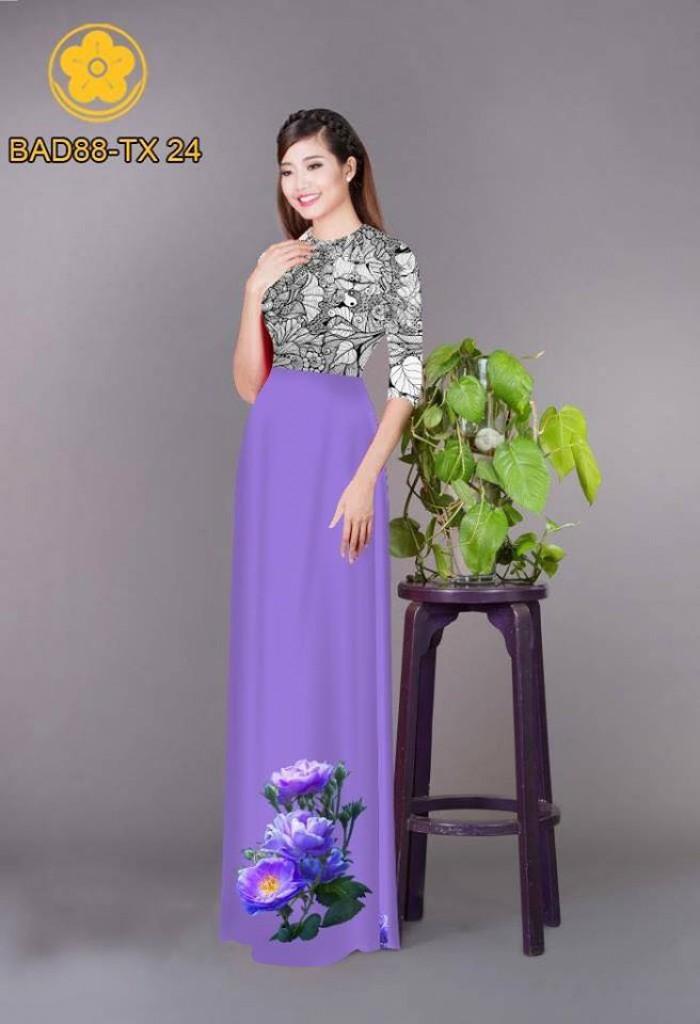 Vải áo dài cách điệu phần ngực lá cùng hoa bông tà14