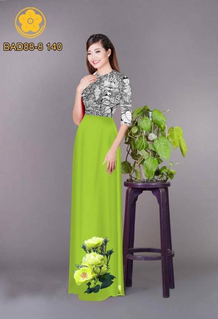 Vải áo dài cách điệu phần ngực lá cùng hoa bông tà15
