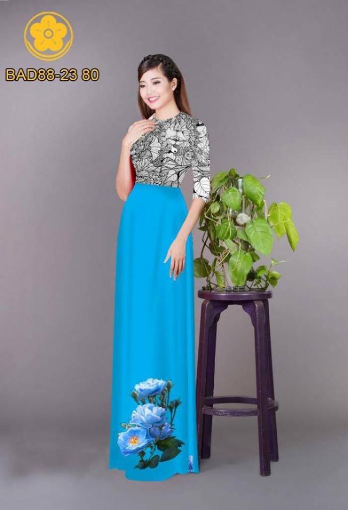 Vải áo dài cách điệu phần ngực lá cùng hoa bông tà16