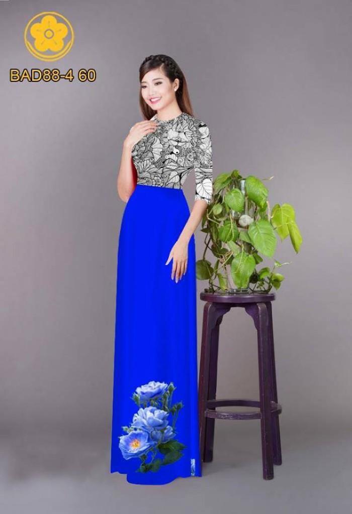 Vải áo dài cách điệu phần ngực lá cùng hoa bông tà17