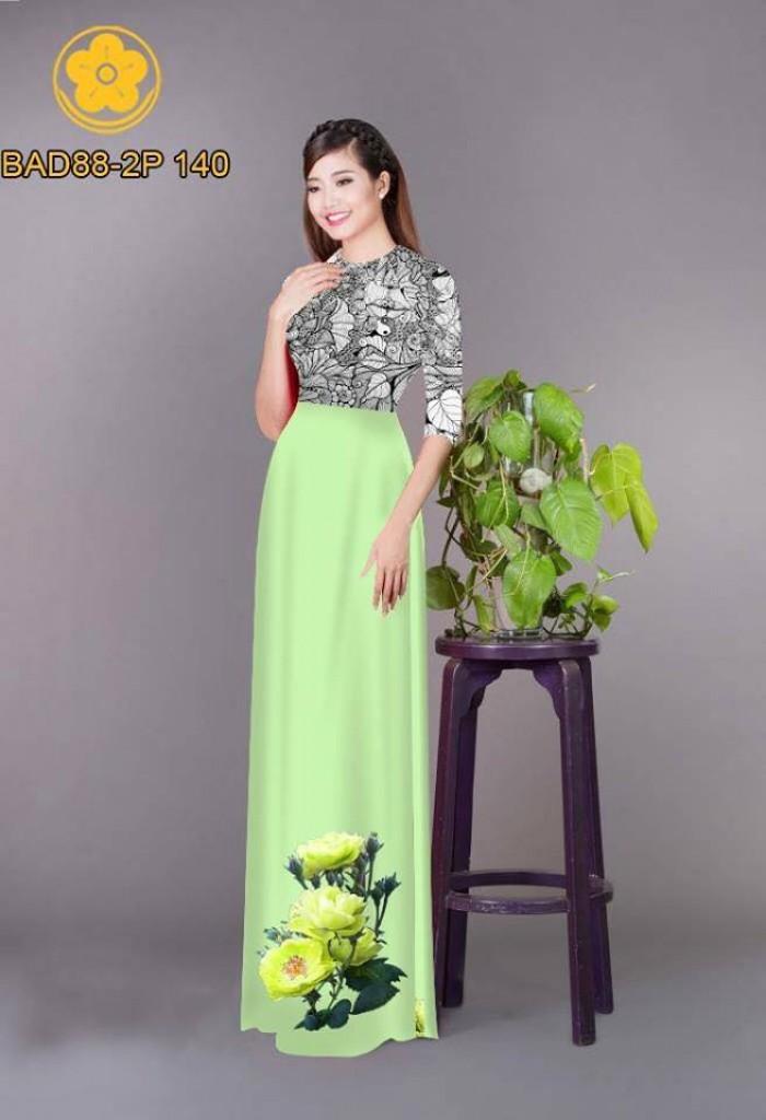Vải áo dài cách điệu phần ngực lá cùng hoa bông tà18