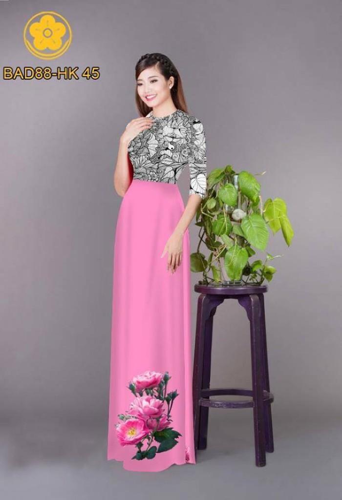 Vải áo dài cách điệu phần ngực lá cùng hoa bông tà19
