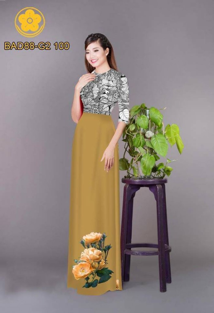 Vải áo dài cách điệu phần ngực lá cùng hoa bông tà20