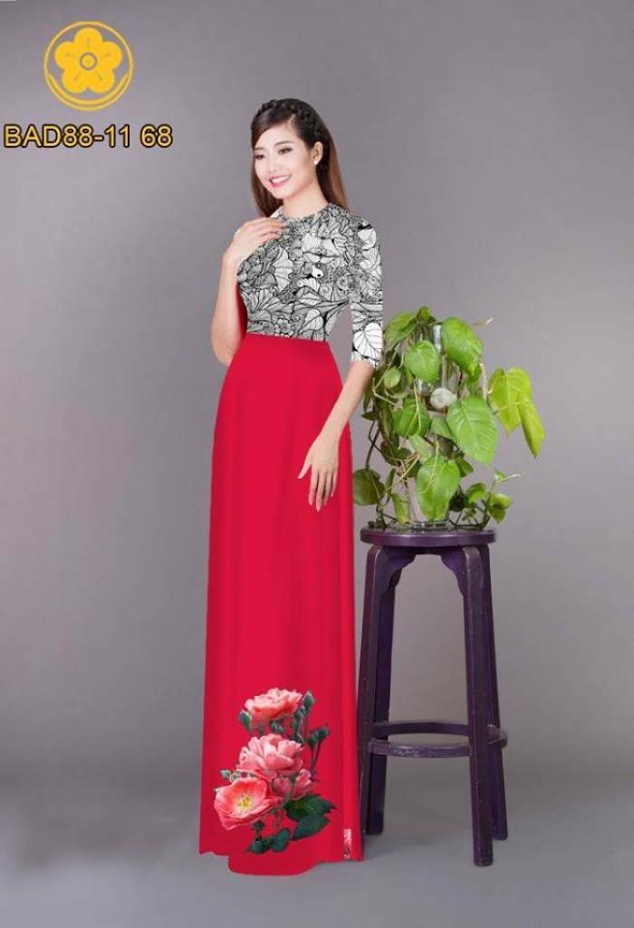 Vải áo dài cách điệu phần ngực lá cùng hoa bông tà21