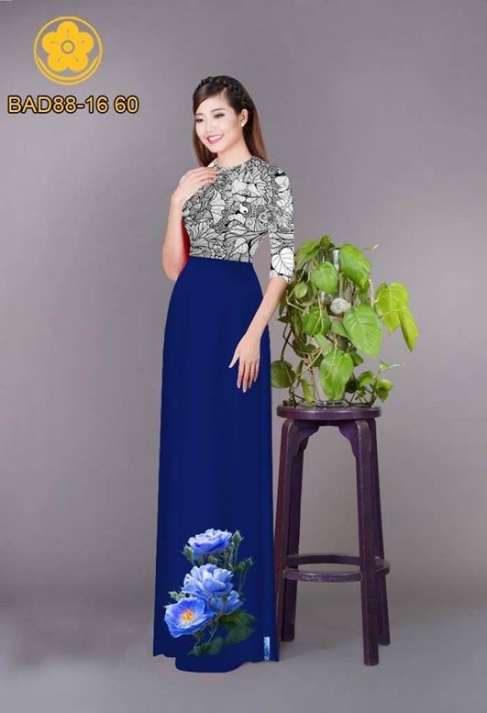 Vải áo dài cách điệu phần ngực lá cùng hoa bông tà24