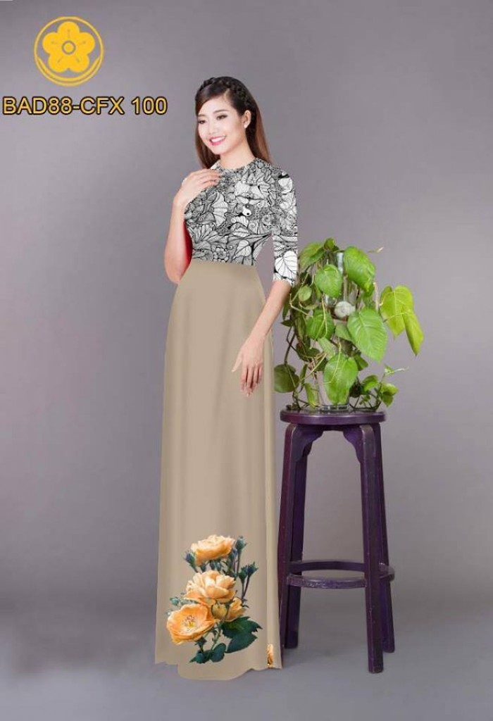 Vải áo dài cách điệu phần ngực lá cùng hoa bông tà26